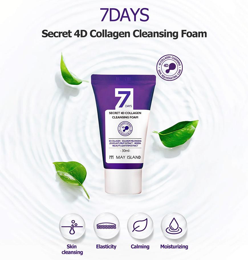 Очищающаяпенки May Island 7 Days Secret 4D Collagen Cleansing Foam